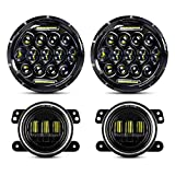 LED Headlight for Wrangler + 4' LED Fog Lights, AAIWA 7' 75W Round LED Headlights with Daytime Running Light DRL High Low Beam Compatible with Jeep Wrangler JK TJ LJ with H4 H13 Adapter
