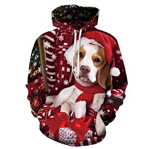 Yidarton Men's Hoodies 3D Printed Funny Ugly Christmas Sweatshirt Sweater Jumper Long Sleeve Pullover Tops with Pocket (Red, X-Large)