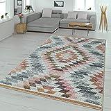 TT Home Alfombra Salón Moderna Pelo Corto Diseño Rombos Colores Pastel, Größe:160x220 cm