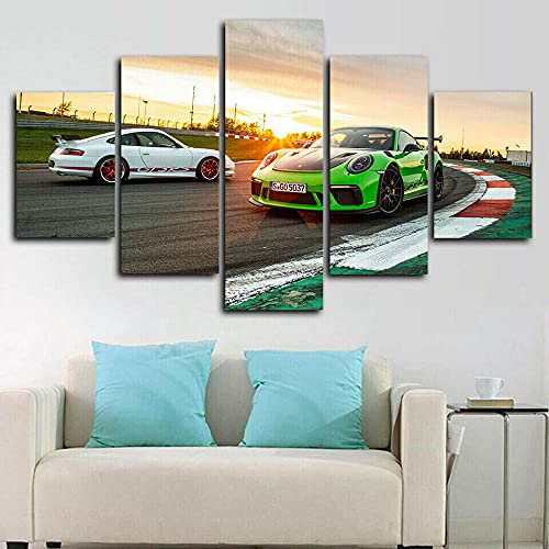 VYQDTNR - 5 Panel Canvas Prints Wall Art Two Sports Cars Racing Track Picture Poster Modern Wall Decor Home Decoration Stretched and Framed Canvas Gallery Wrapped Print Ready to Hang