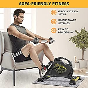 VANGONA Under Desk Bike Pedal Exerciser Magnetic Mini Exercise Bike Stationary Cycle for Leg and Arm Recovery, Indoor Desk Cycle for Home & Office (Carpet Included)