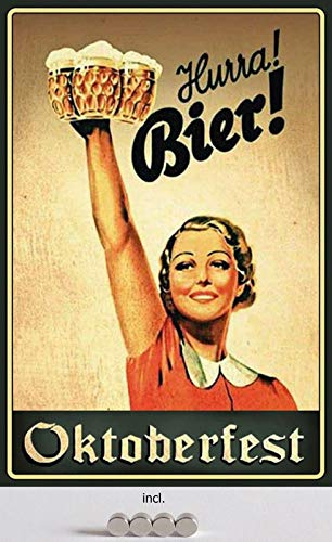 Cartel de Chapa de 20 x 30 cm, Curvado, Incluye 4 imanes de Oktoberfest Hurra Bier! Cartel de Mujer en Traje Regional con jarras de Cerveza, decoración de Regalo