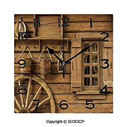 SCOCICI Print Square Wall Clock, 8 Inch Wagon Wheel Next to A Rustic Wooden House with Vintage Lantern Window and Retro Buckets Quiet Desk Clock for Home,Office,School