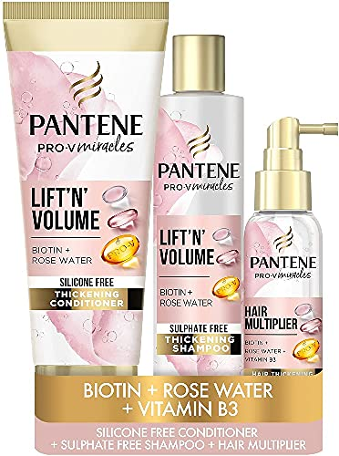 Pantene Lift 'N' Volume Sulfate Free Shampoo and Conditioner Set, a Sulphate Free Thickening Shampoo with Biotin, a Silicone Free Thickening Hair Conditioner and a Hair Multiplier Leave-in Treatment