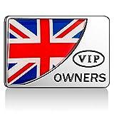 AutoE Car Styling 3D Aluminum+Epoxy VIP National Flag Logo Emblem Sticker Side Metal Decal Badge Auto Exterior Accessory (England)