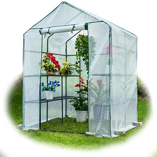 MAHFEI Invernadero Pequeño, Invernadero Sin Cita Invernaderos Jardin Cubierta De Planta De PE Estructura De Metal Estable Puertas De Persiana Compacto para Aislamiento De Plantas Al Aire Libre