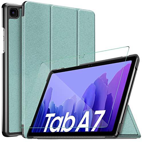 IVSO Hulle Kompatibel mit Samsung Galaxy Tab A7 104 2020Mit Panzerglas Slim Hochwertiges PU Schutzhulle mit Displayschutz Kompatibel mit Samsung Galaxy Tab A7 T505T500T507 104 Zoll 2020 Grun