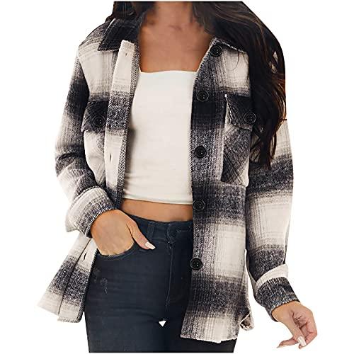 Wirziis Womens Corduroy Button Down Shirts Boyfriend Long Sleeve Oversized Blouses Tops Fall Roller Sleeve Jacket Coats