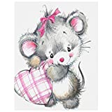LIXWU 5d Diamond Art Valentine Day Card Cute Animal,Diamond Painting Kits, Diamond Paint by Numbers, Diamond Painting Pictures Arts Craft for Home Wall Decor