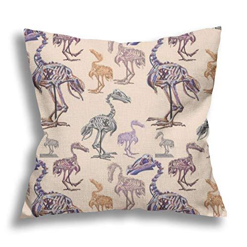 Dodos - Funda de almohada decorativa de lino para sofá, silla, cama, coche, decoración de oficina, 45,7 x 45,7 cm