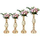 VEVOR 4 stücke Blumenständer Blumenhalter für Hochzeit Metall Kerzenständer Vasewer Tisch Stück Geliebte Tischkerzenhalter für Party Event Dinner Flowe 40,64 cm 47,24 cm 53,34 cm(Gold)