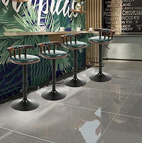Set di 4 Sgabelli da Bar, Sgabelli da Bancone da Cucina Moderni in Pelle Cerata A Olio, Altezza Idraulica Regolabile, Rotazione di 360 ° (Color : E)