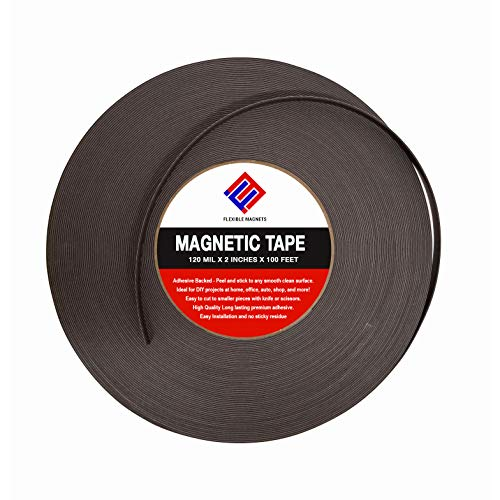 Magnetic Tape Roll with Adhesive Backing - Strip of Peel and Stick Magnets - Extremely Strong & Sticky by Flexible Magnets -120 mil - (2' x 100')