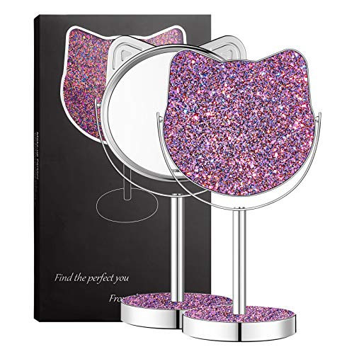 Kitty Shape Makeup Vanity Mirror,Colourful Glittering Mirror,Chirstmas Gift Best Choice for Girlfriend Teenage Women (Voilet/Large Size)