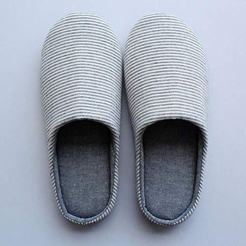ypyrhh Zapatillas de Invierno Mujer Hombre Pantuflas,Par de Pantuflas de algodón con Fondo de Tela Suave,Pantuflas Antideslizantes silenciosas-Gris Azul_42-43,de casa Suaves y cómodas Zapatillas