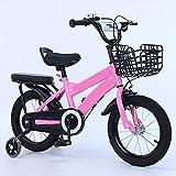 ZEMENG Bicicletas para niños, Bicicleta para niños con Ruedas auxiliares, Bicicletas de Acero Altos de Carbono para niños y niñas al Aire Libre,Rosado,16'