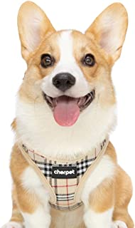 CHERPET Puppy Harness and Leash Set - Plaid Cute Adjustable Small Dog Fulll Body Vest Escape Proof Safety No Pull Halter Mesh Breathable Soft for Easy Walk Outdoor,Comfort Fit Kittens Small Animals