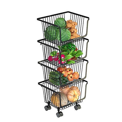ZMLG Carro de Almacenamiento con Ruedas Cocina, Bandeja Multicapa de Hierro para Frutas y Verduras, Estante para Hogar, Cesta para Frutas y Almacenamiento de Verduras, Negro,Four tiers