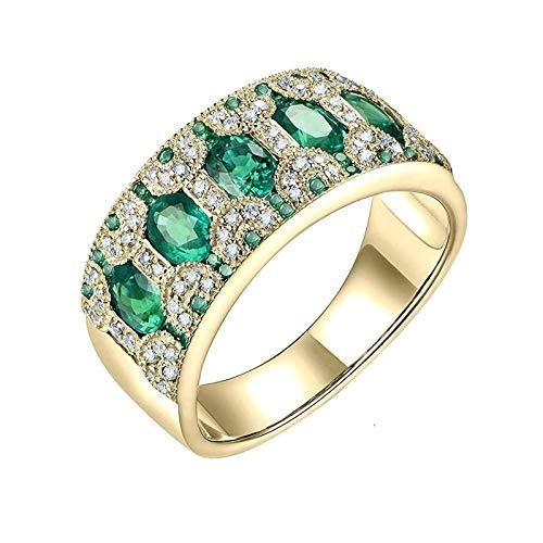Daesar Anillo 14K Oro Amarillo Mujer,Redondo con Oval Esmeralda Verde 1.58ct Diamante 0.28ct,Oro Azul Talla 9,5