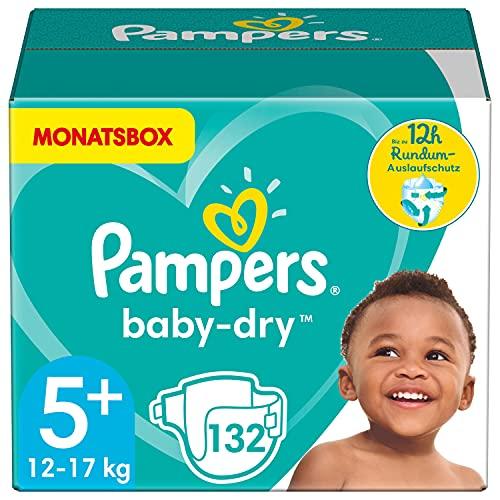 Pampers Windeln Größe 5+ (12-17kg) Baby Dry, 132 Stück, MONATSBOX, Bis Zu 12Stunden Rundum-Auslaufschutz