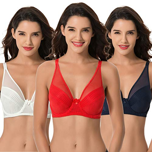 Curve Muse Women's Plus Size Minimizer Unlined Underwire Full Coverage Bra-3PK-NAVY,RED,LT GREEN-34DDDD