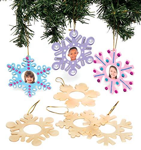 Baker Ross AC278 Holzfotorahmen-Anhänger Schneeflocke Basteln und Bemalen – Kreatives, weihnachtliches Bastelset für Kinder (8 Stück)