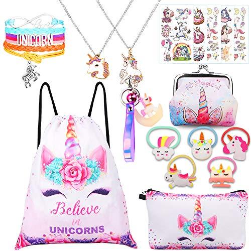 RHCPFOVR Unicorno Regali per Ragazze 5 Pack - Zaino Con Un Cordoncino e Unicorno Borsa Per Trucco/Collana Pendente Con Unicorno/Bracciale Unicorno/Fascette Per Capelli
