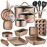 20-Piece Nonstick Kitchen Cookware Set - PTFE/PFOA/PFOS-Free Heat Resistant Kitchen Ware Pots Baking Pan Set w/ Saucepan, Frying Pans, Cooking Pots, Oven Pot, Lids, Matt Gold NutriChef