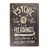 Stevenca Metal Tin Sign Psychic Readings $5 Tarot Cards Crystal Balls Vintage 8x12 Inch Wall Decor…
