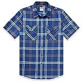 Dubinik® - Camisa de franela a cuadros para hombre, manga larga, corte normal, para tiempo libre De color azul oscuro. XL