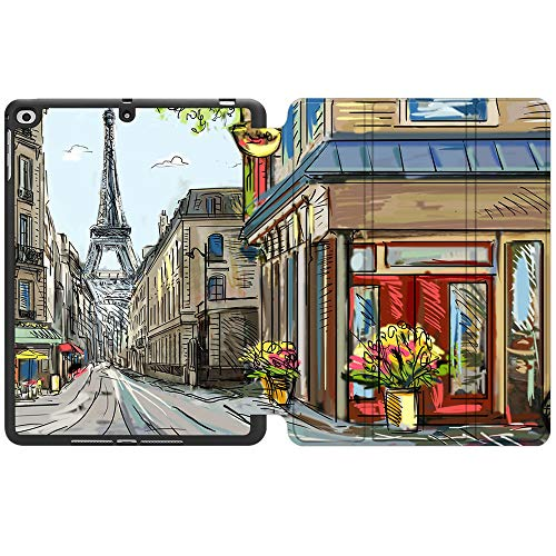 SDH New iPad 9.7 Inch 2018 2017 Case with Pencil Holder, iPad Air 1 / iPad Air 2 Smart Cover Folio Stand Protective for Apple iPad 5th 6th Gen Case (A1822/A1823/A1893/A1954), Painting City 10
