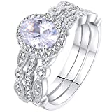 Newshe Jewellery Engagement Sets Wedding Rings for Women 925 Sterling Silver 3pcs White Cz Size 9