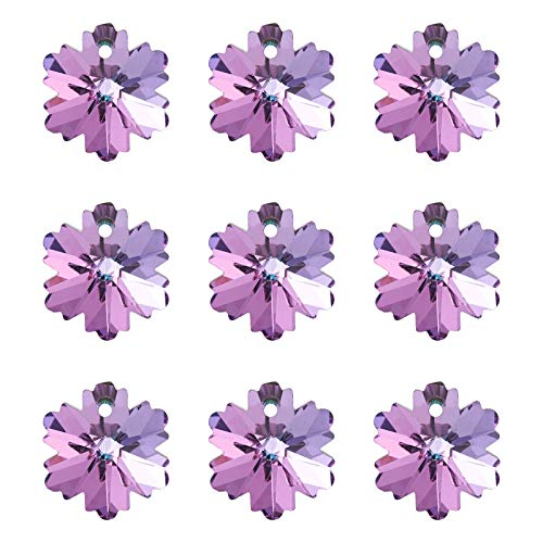 Cheriswelry 30pcs Faceted Glass Snowflake Pendants Crystal Clear Rhinestone Snow Flower Charms Dangle Beads for DIY Jewelry Crafts Making Hole:1.2mm