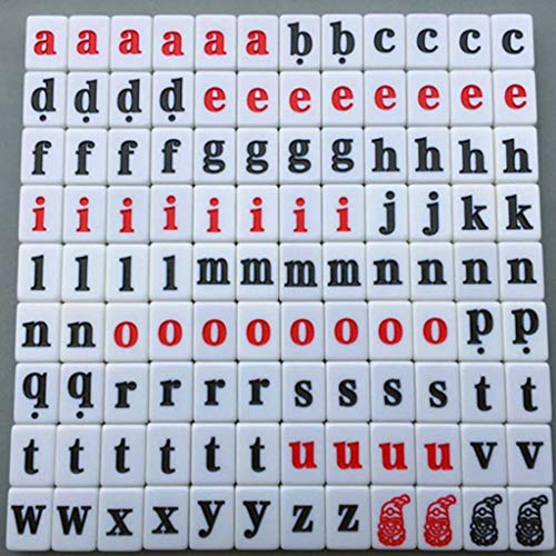 DUOER home-Mahjongg 108 Stück Alphabet Scrabble Fliesen Buchstaben Zahlen Kinder pädagogisches Spielzeug (Color : Lower case Letters)
