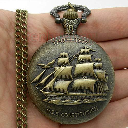 FMXKSW Taschenuhr Vintage Steampunk Antik Bronze Segeln Leinwand Boot Schiff Halskette Kette Quarz Anhänger TaschenuhrGeschenk