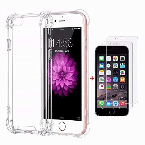 Funda iPhone 6,Funda iPhone 6S Fanxwu Case Ultrafina Transparente Cristal Suave TPU Silicona [2*Película de Cristal Templado] Diseño de Cojín de Aire Protección Anti-Shock Cover