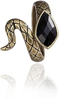 SENFAI Antique Bronze Finger Ring Snake Shaped Rings Black Gemstone