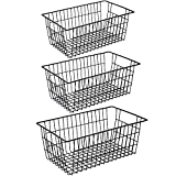 iPEGTOP Metal Wire Stroage Baskets, Large Farmhouse Organizer Bins, Home Office Desk Shelf Freezer Storage for Bathroom, Pantry, Closets Organization Rack with Handles, 3 Pack, Black