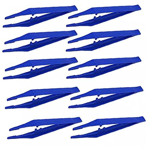 Tweezers Sourcils Slant, 10pcs Tweezers en Plastique Perles Médicales Petites Pinces Jetables Tweezers Tools Pince pour Artisanat