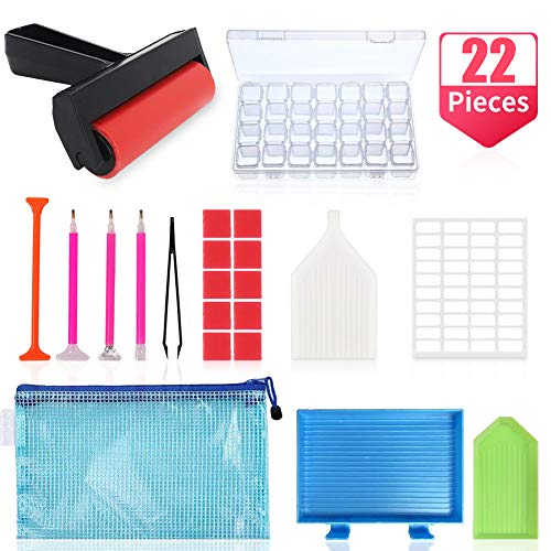 22pcs 5D Diamond Painting Tools and Accessories Kits with Diamond Painting Roller and Diamond Broidery Box for Adultes or Kids