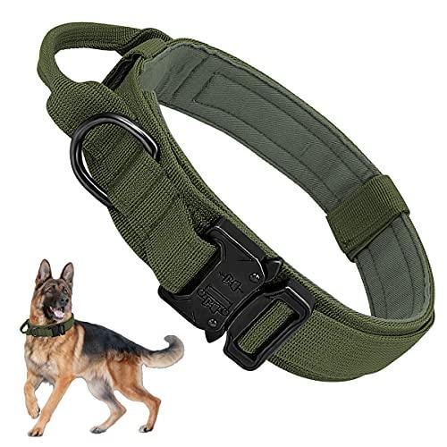 Militar Collares Tácticos para Perros, Collar K9 con Mango de Control Hebilla de Metal, Nailon Perro Collares Ajustable para Entrenamiento de Perros Medianos y Grandes, Ejercito Verde, M