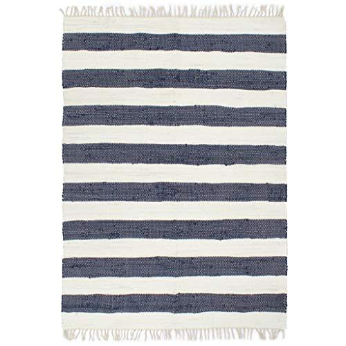 vidaXL Teppich Chindi Handgewebt Wohnzimmerteppich Handwebteppich Fleckerlteppich Fransenteppich Webteppich Läufer Baumwolle 80x160cm Blau Weiß