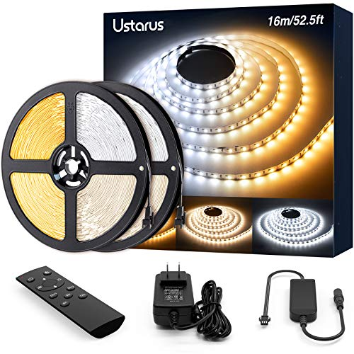 LED Strip Lights White 52.5ft 12V Dimmable 3000K-6000K Ustarus LED Tape Rope Light with RF Remote Flexible 2835 LED Ribbon for Kitchen Under Cabinet Mirror Room Indoor Home Daylight Warm White