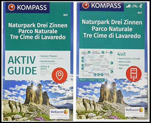KOMPASS Wanderkarte Naturpark Drei Zinnen, Parco Naturale Tre Cime di Lavaredo: 4in1 Wanderkarte 1:25000 mit Aktiv Guide und Panorama inklusive Karte ... in der KOMPASS-App. Fahrradfahren. Skitouren.