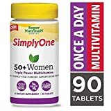 SuperNutrition, SimplyOne Multi-Vitamin for Women 50+, High-Potency, One/Day Tablets, 90 Day Supply