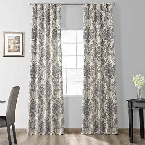 HPD Half Price Drapes JQCH-2012206-84 Designer Damask Curtain (1 Panel), 50 X 84, Silver & Blue