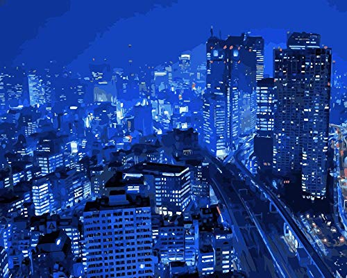 Sin Marco 40x50cm DIY Japón Tokyo City View Rascacielos Farola Colorear Pintura...