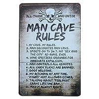 男の洞窟のルール 金属板ブリキ看板警告サイン注意サイン表示パネル情報サイン金属安全サイン