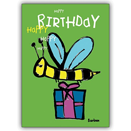 4 Geburtstagskarten: Verschicken Sie Geburtstagswünsche mit der Happy Birthday Biene • schöne Glückwunsch Geschenk-karten mit Umschlägen geschäftlich & privat