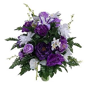 Lily, Orchids Cemetery Flower Arrangement, Headstone Vase Insert, Grave Vase Cone Arrangement , Cone Insert, Tombstone vase Arrangement, Cemetery Flowers SC4148